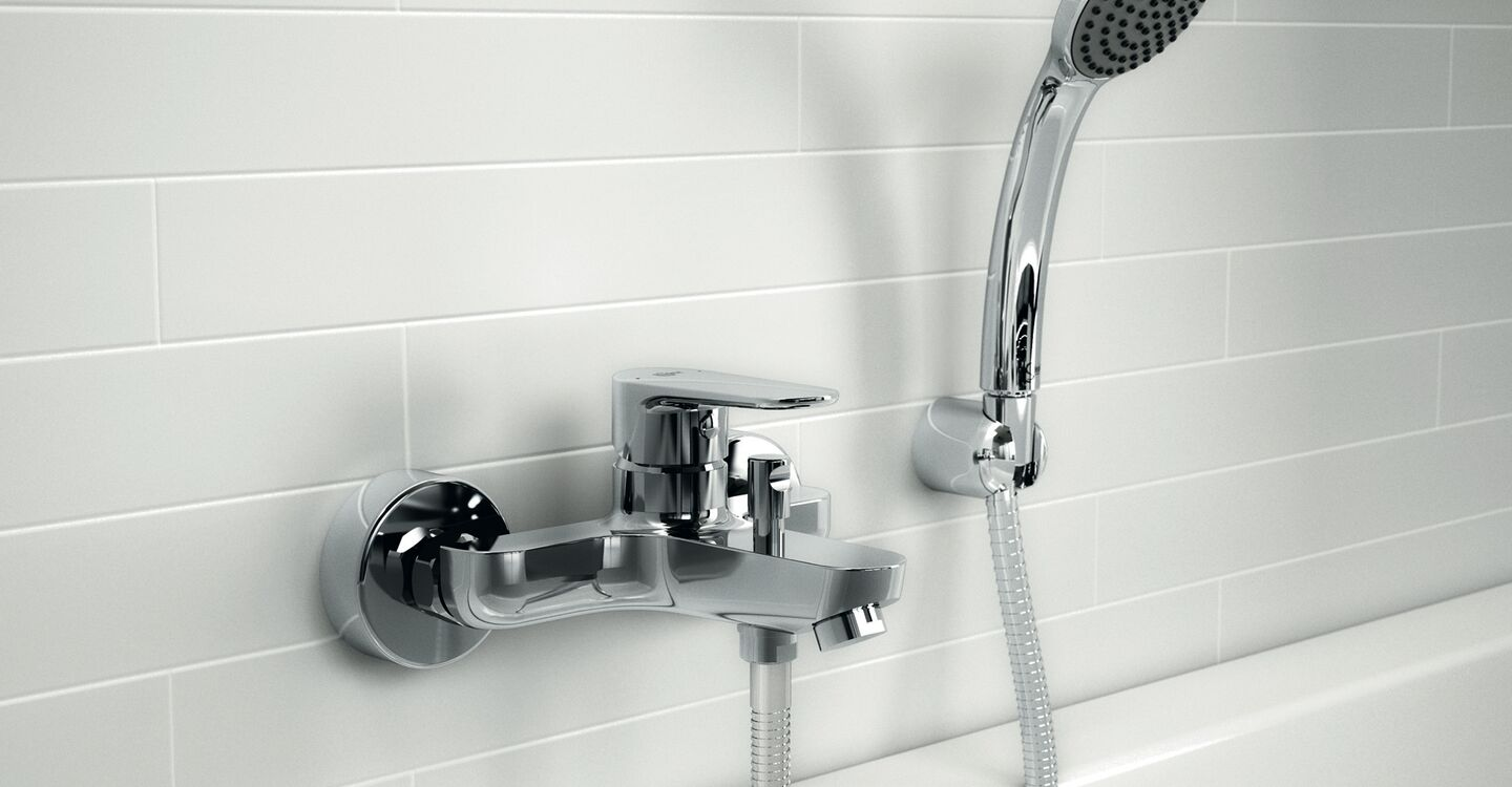 Bath & shower mixer exposed with accessories